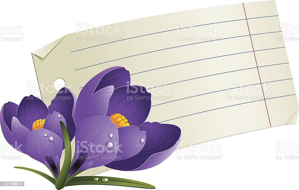 Blank paper with flowers for a romantic message royalty-free stock vector art