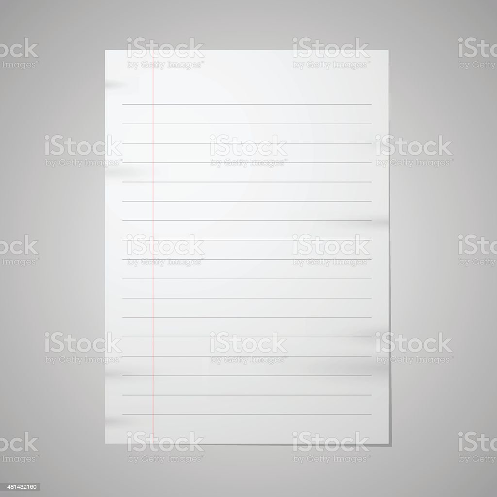 Blank paper with front red line vector art illustration