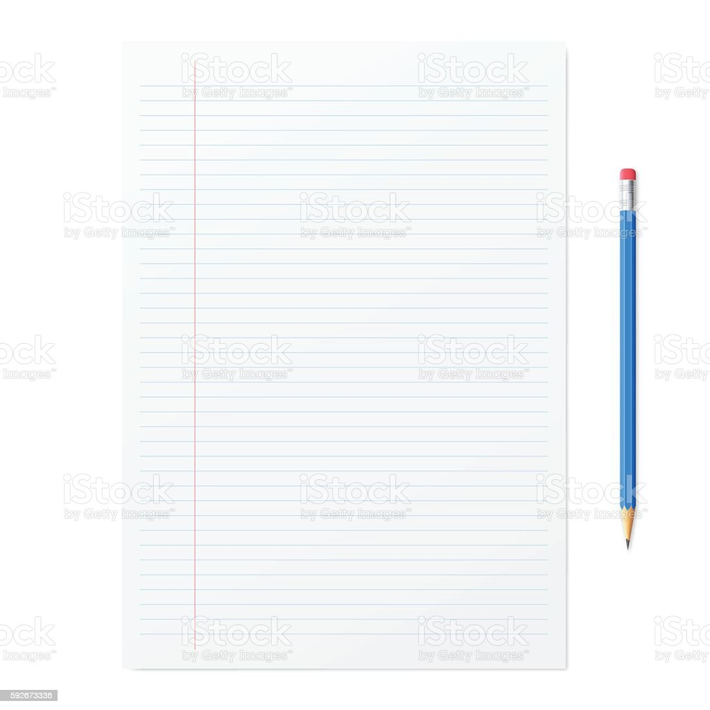 Blank paper with pencil on white backgorund vector art illustration