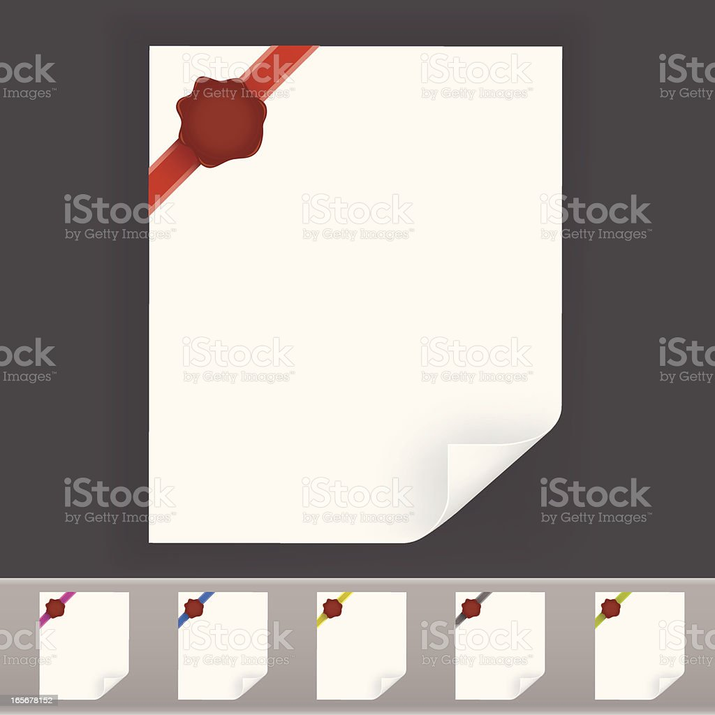 Blank paper with ribbon and stamp royalty-free stock vector art