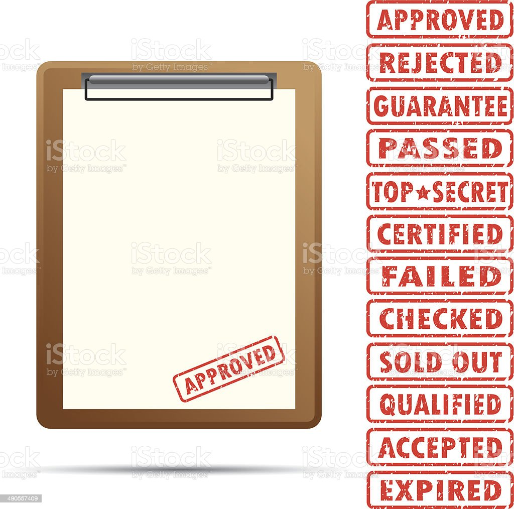 blank paper with rubber stamp royalty-free stock vector art