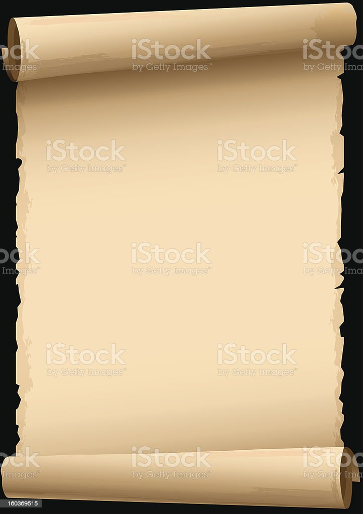 Blank parchment scroll clip art on black background vector art illustration