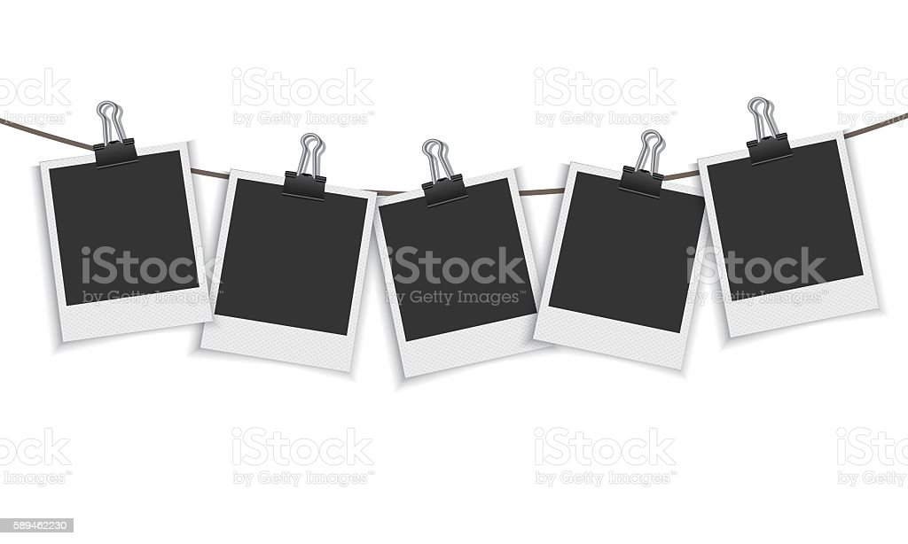 Blank photo frame hanging on a line with paper clip vector art illustration
