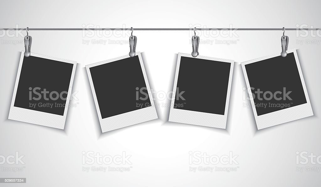 Blank photo frame hanging on wire rope with clip vector art illustration