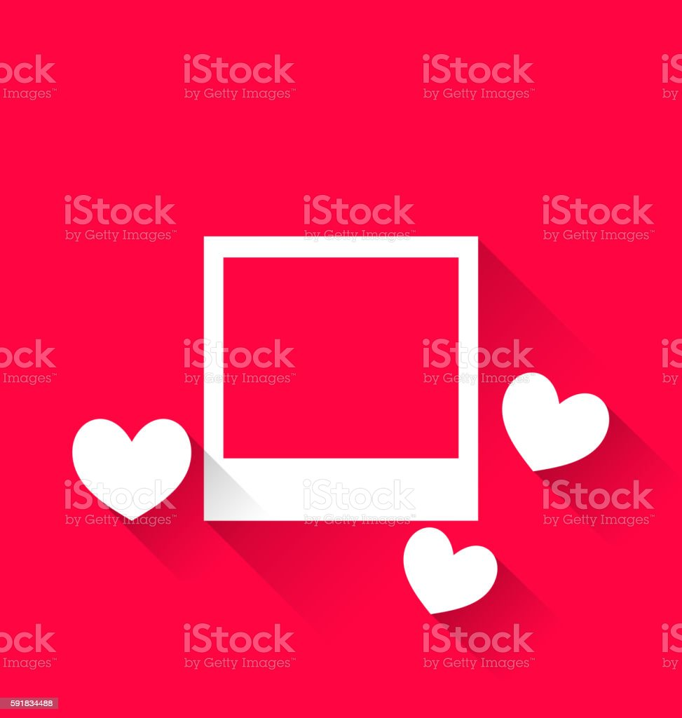Blank photo frame with hearts for Valentine Day vector art illustration