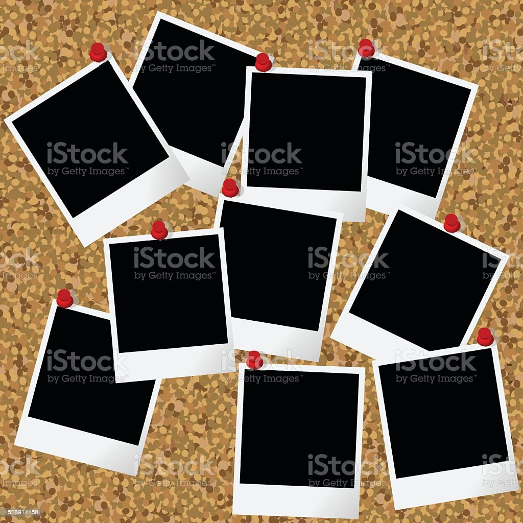 Blank photo frames hanging on cork board with pushpins vector art illustration