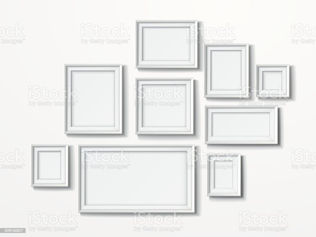 blank picture frames set isolated on white vector art illustration