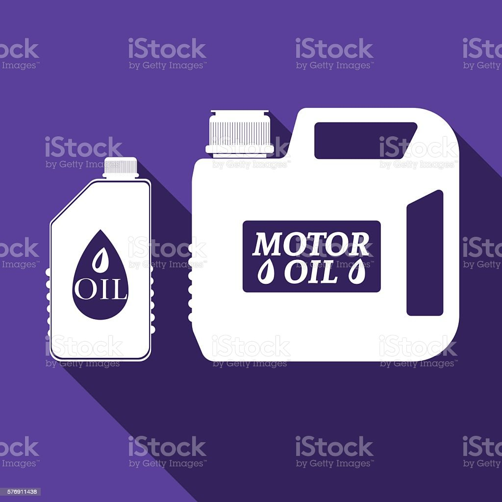 Blank plastic canister for motor oil icon with long shadow. vector art illustration