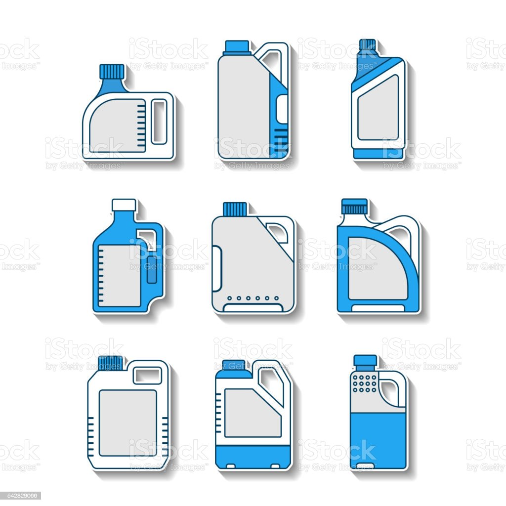 Blank plastic canisters, flat icons. Packaging for oil, water, liquids vector art illustration