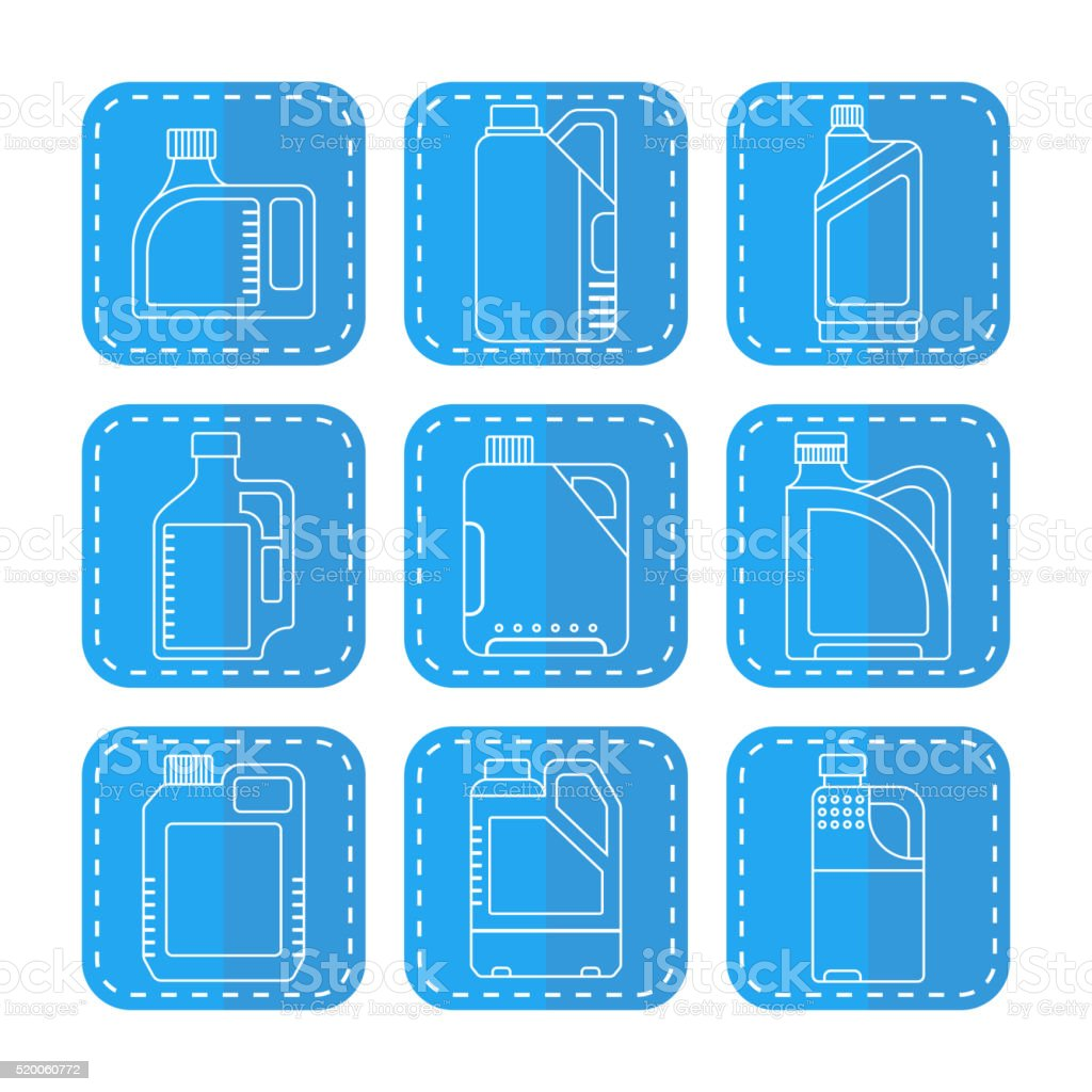 Blank plastic canisters, flat linear icons. Plastic packaging vector art illustration