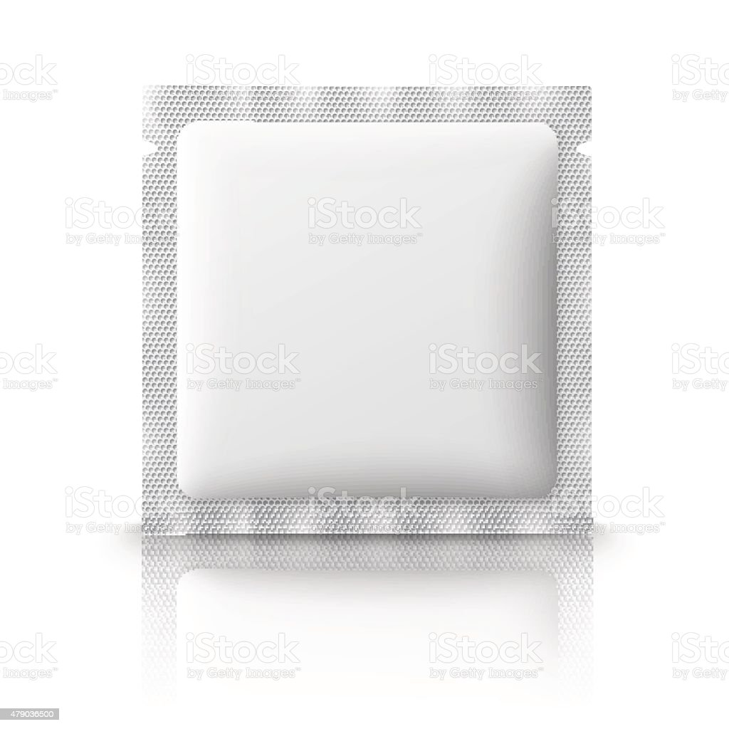 Blank plastic sachet for medicine, condoms, drugs, coffee, sugar, salt vector art illustration