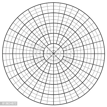 Blank Polar Graph Paper Protractor Pie Chart Vector Stock Vector