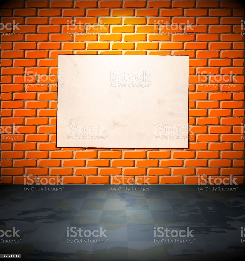 Blank poster on the brick wall royalty-free stock vector art