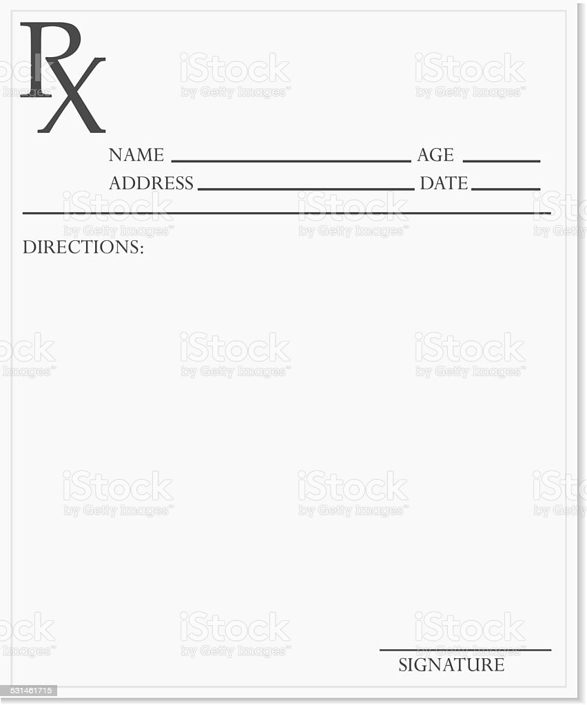 Blank prescription vector art illustration