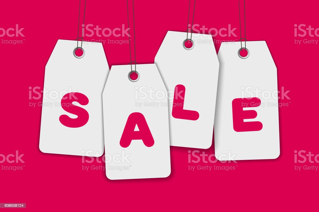 Blank price sale tag composition isolated on pink background vector art illustration