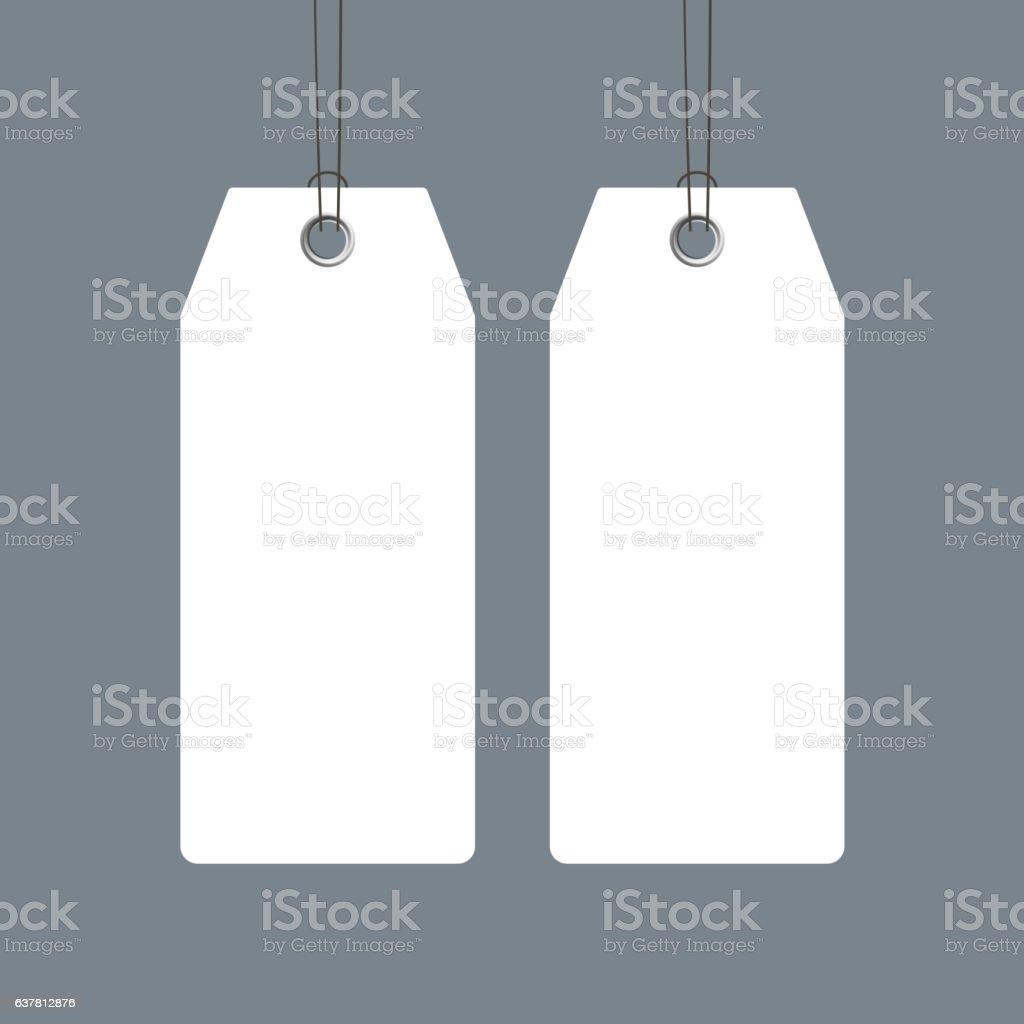 Blank price tags set design over grey background vector art illustration