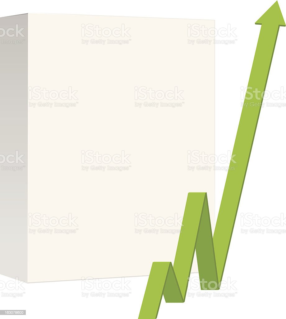 Blank product box with green arrow pointing up royalty-free stock vector art