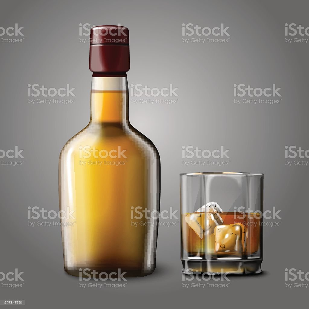 Blank realistic bottle with glass of whiskey and ice, isolated. vector art illustration