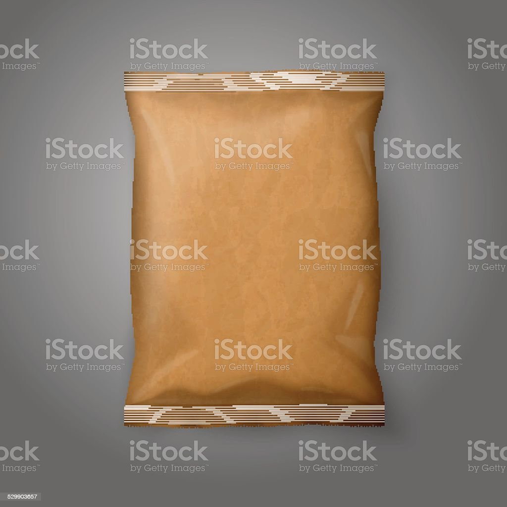 Blank realistic craft paper snack pack isolated on grey background vector art illustration