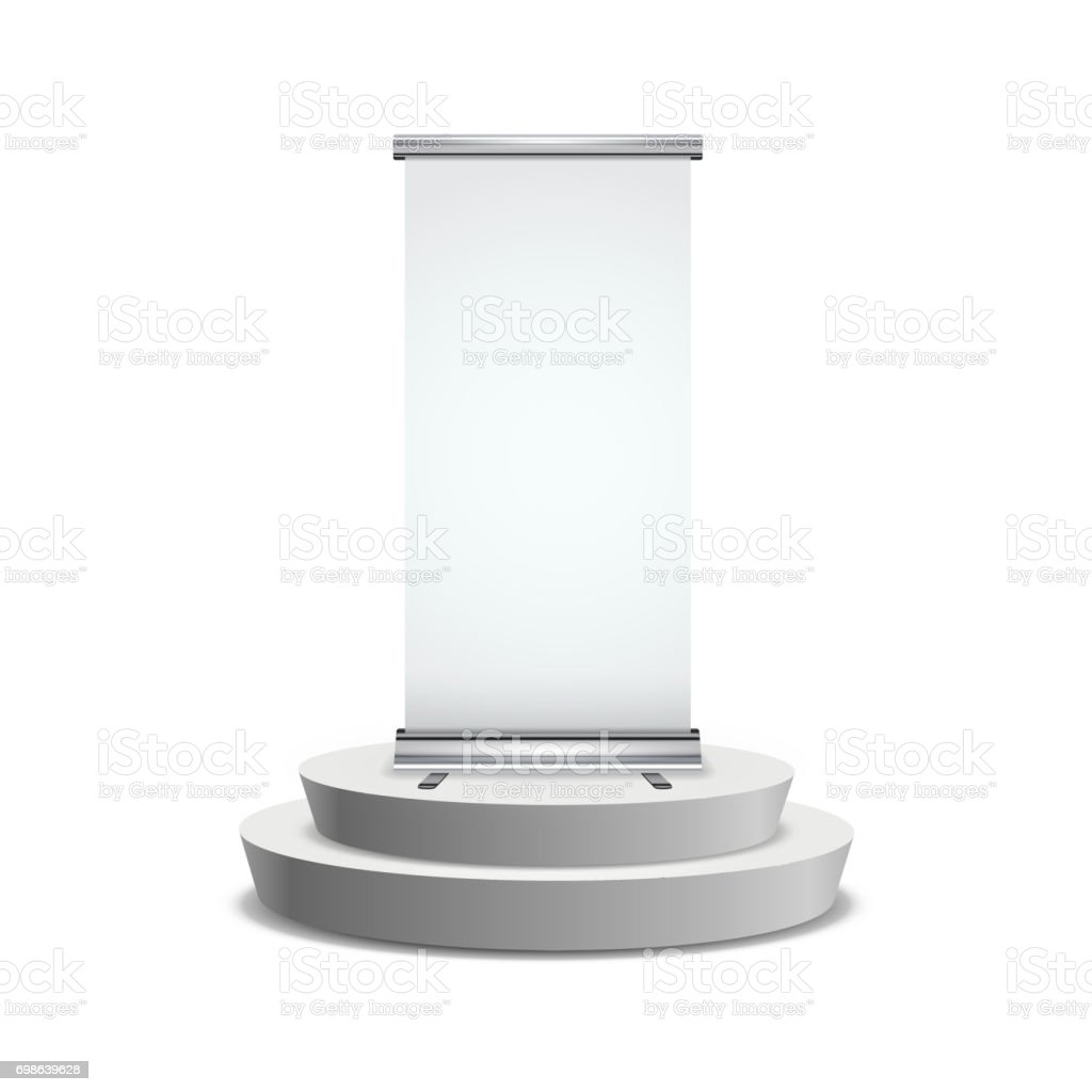 Blank realistic roll-up banner with shadow on round podium on white vector art illustration