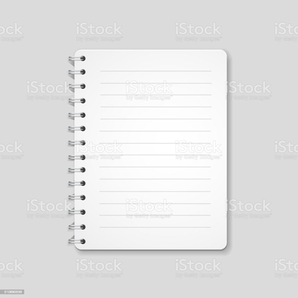 Blank realistic spiral notebook, notepad isolated on white background vector art illustration