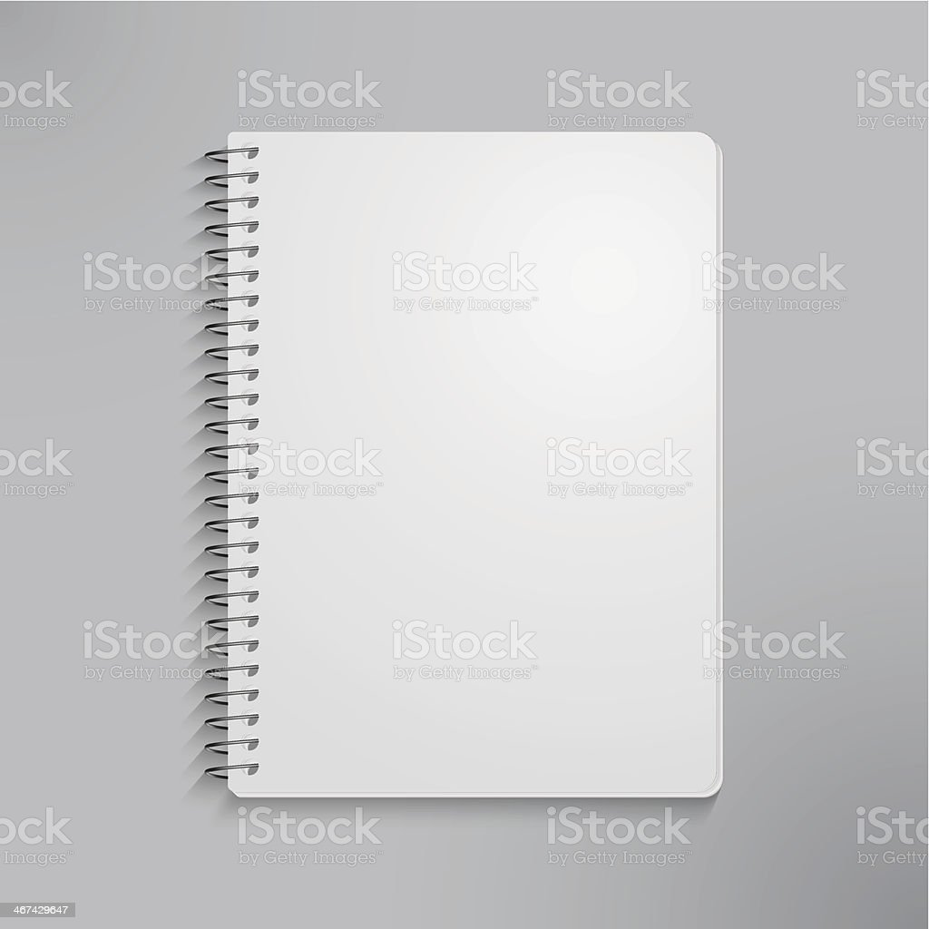 blank realistic spiral notebook vector art illustration
