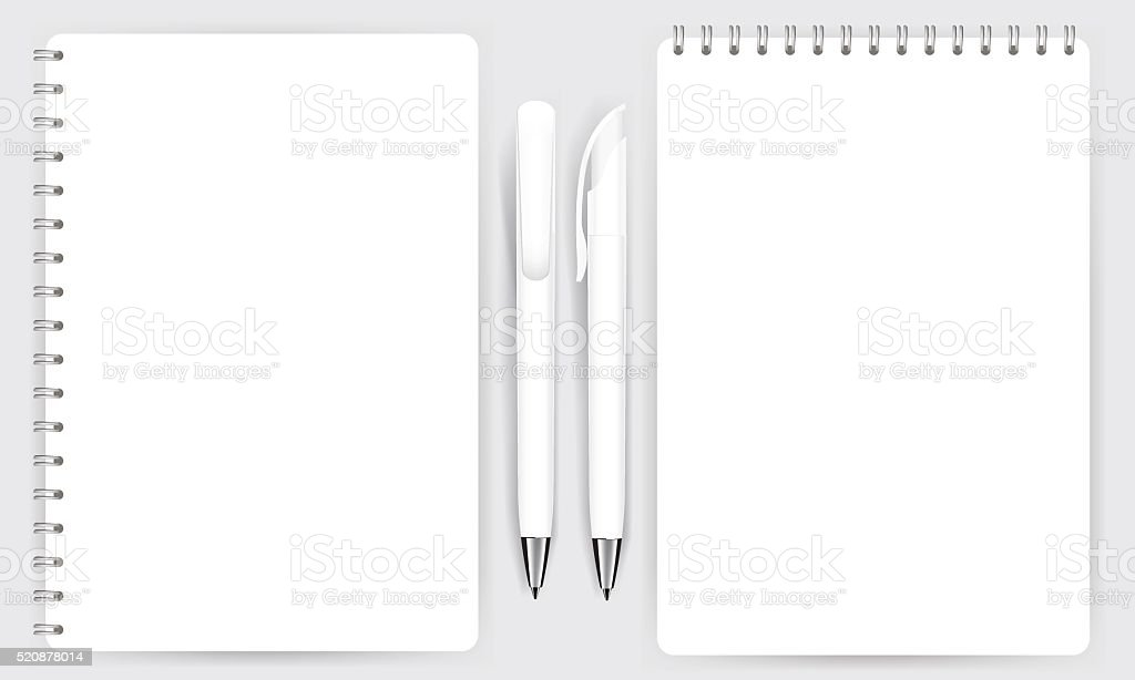 Blank realistic spiral notepad notebook and pen isolated vector vector art illustration
