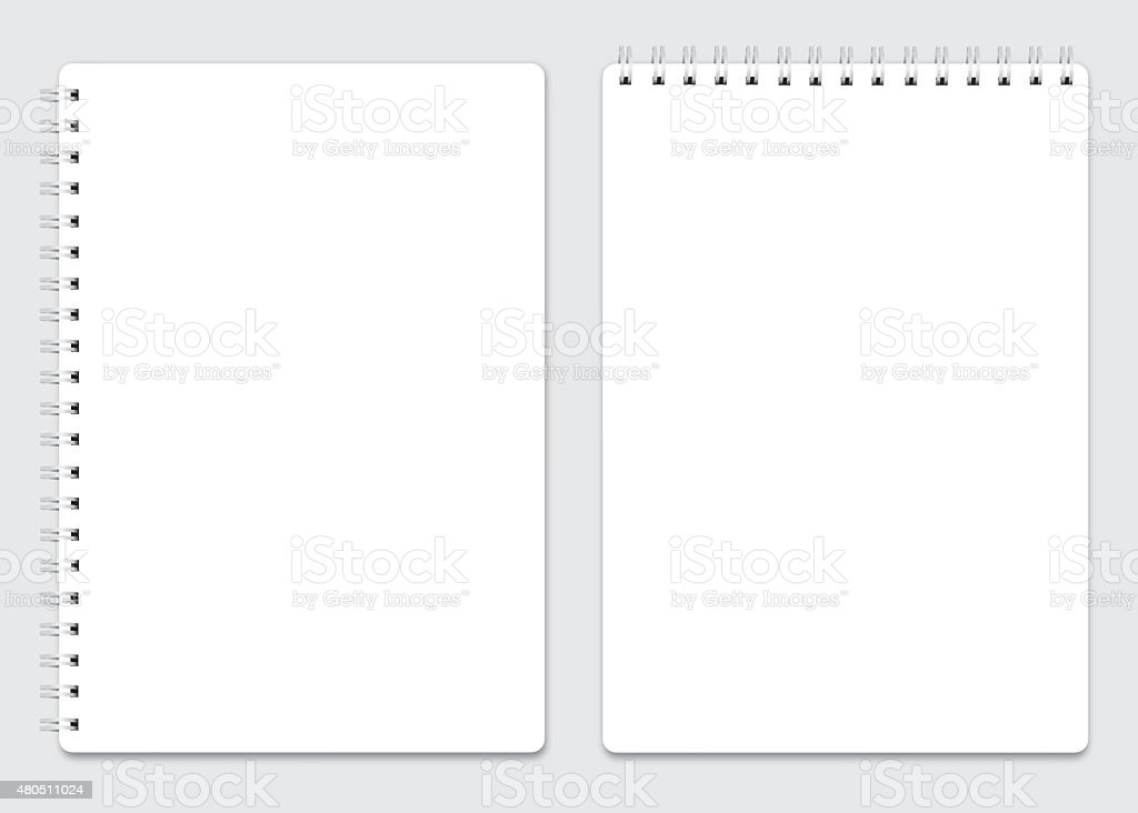 Blank realistic spiral notepad notebook isolated vector art illustration