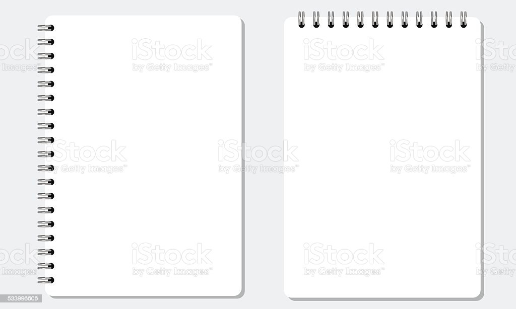 Blank realistic spiral notepad notebook with solid flat color. Isolated. vector art illustration