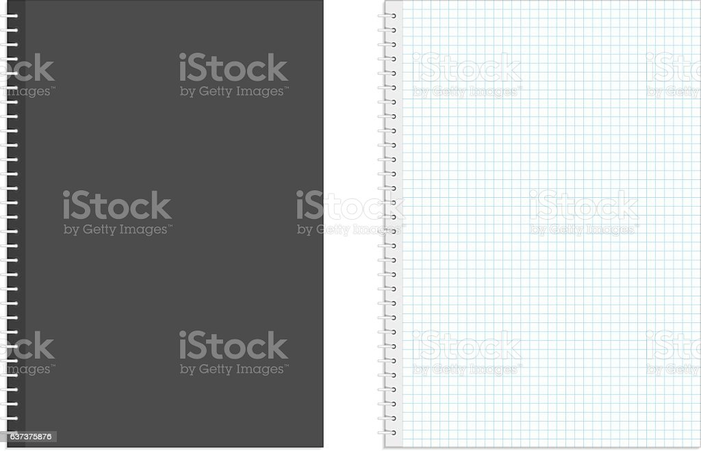 Blank realistic spiral squared notebook. vector art illustration