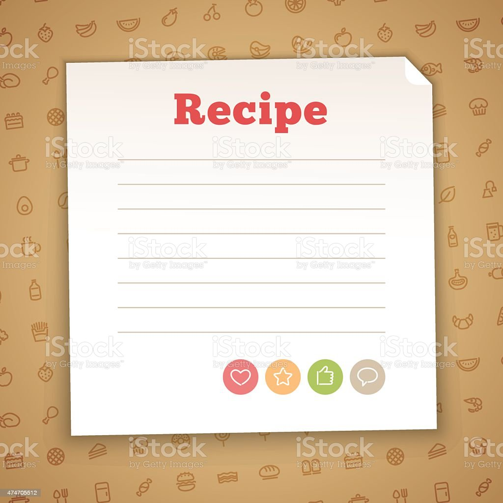 Blank Recipe Card Template vector art illustration