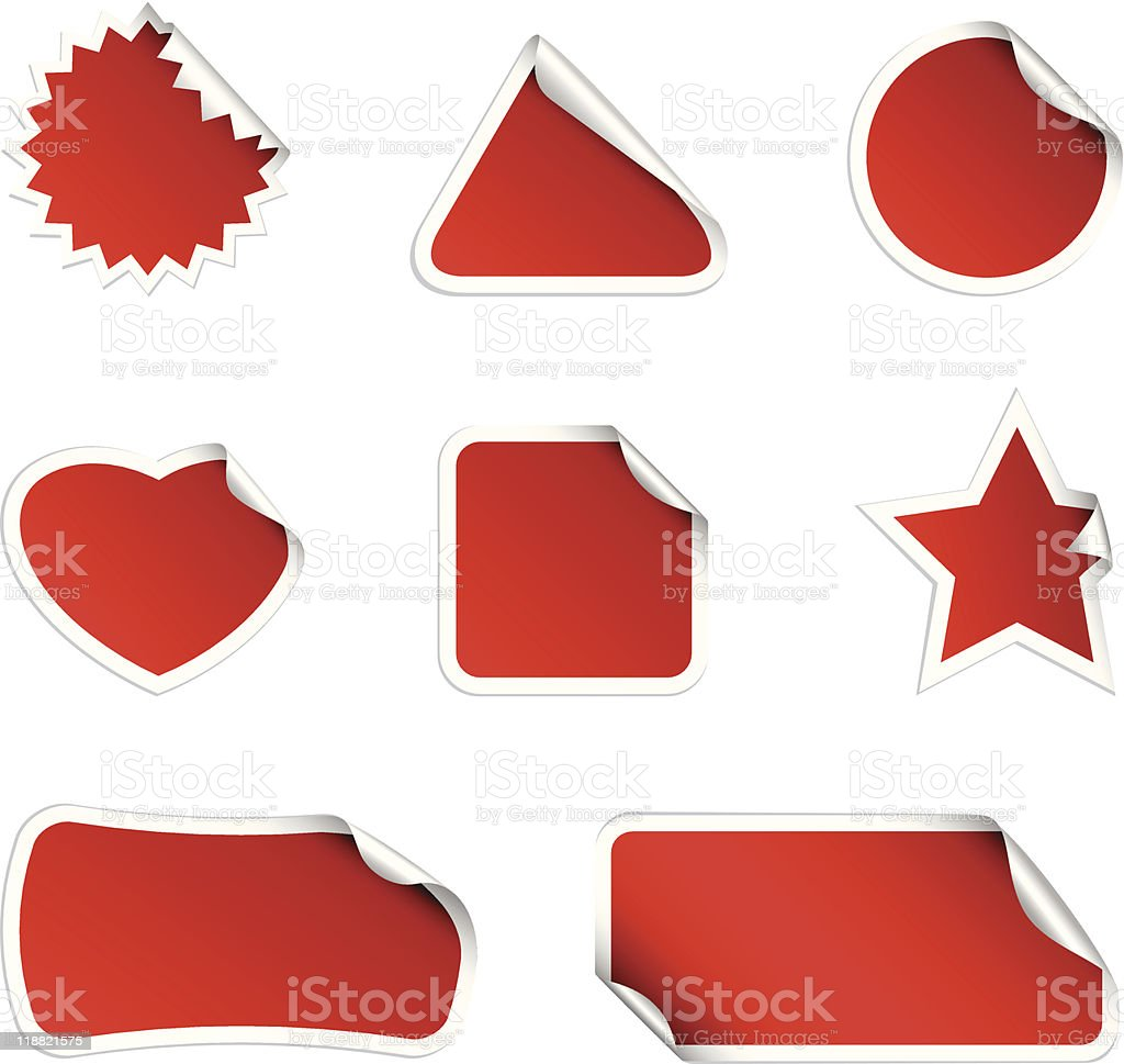 Blank red stickers of various shapes royalty-free stock vector art