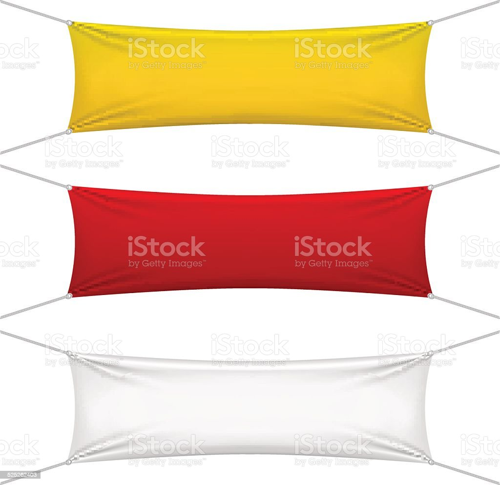 blank red, yellow, white textile banners vector art illustration