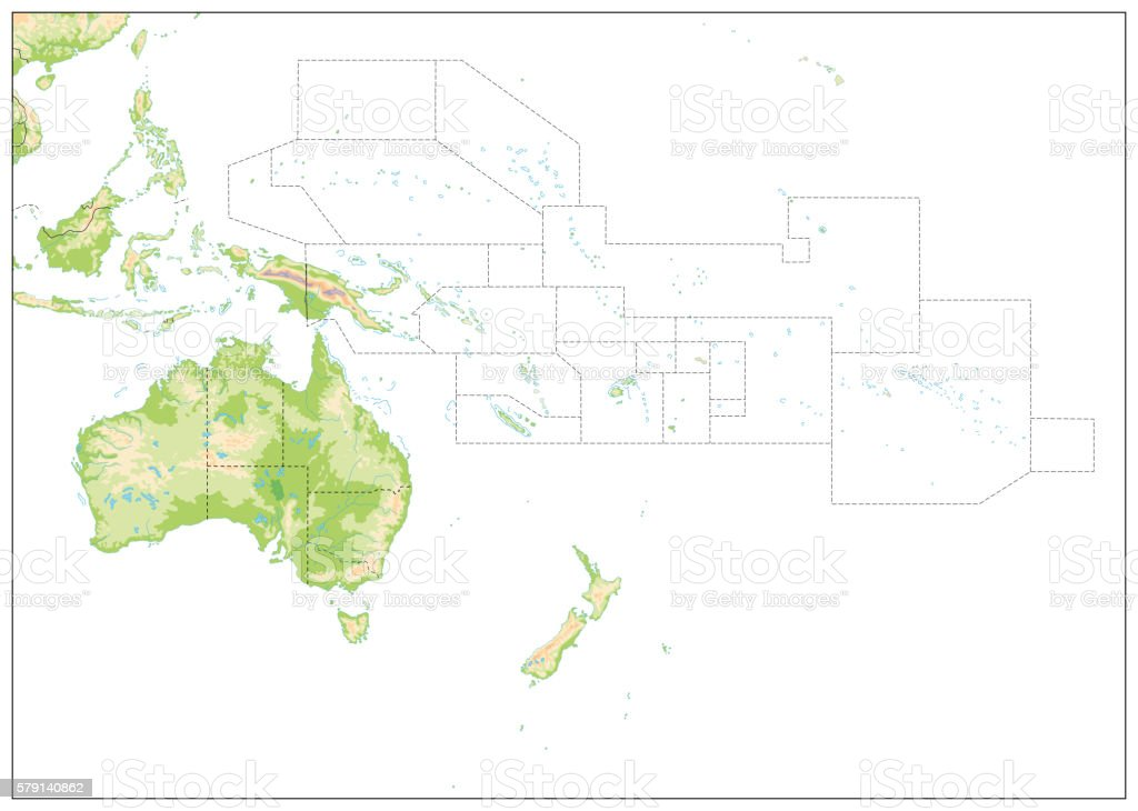 Blank Relief Map of Oceania isolated on white vector art illustration
