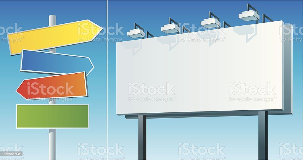 blank road sign and billboard royalty-free stock vector art
