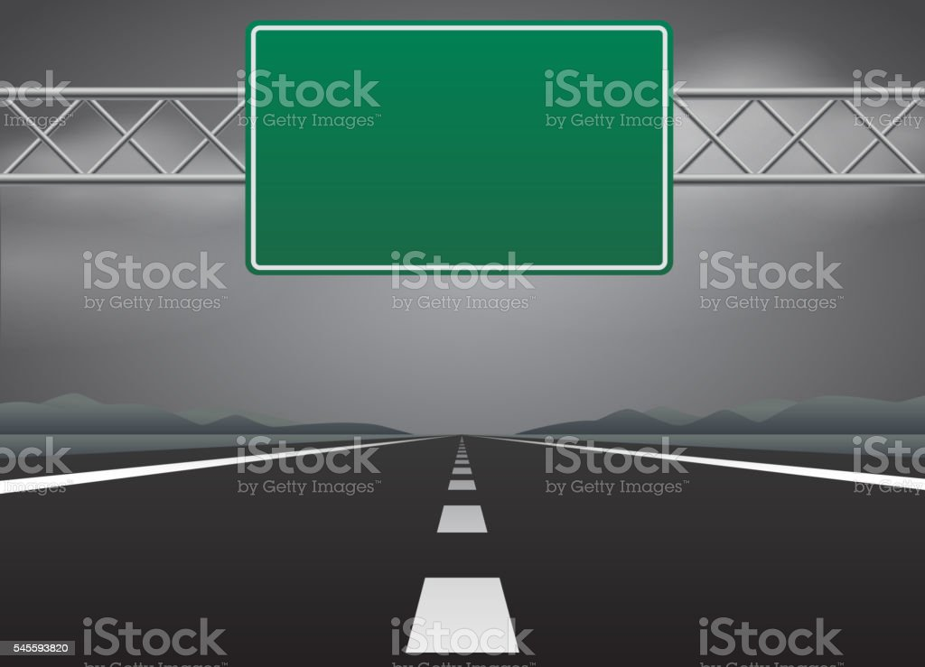 Blank road sign in bad weather vector art illustration