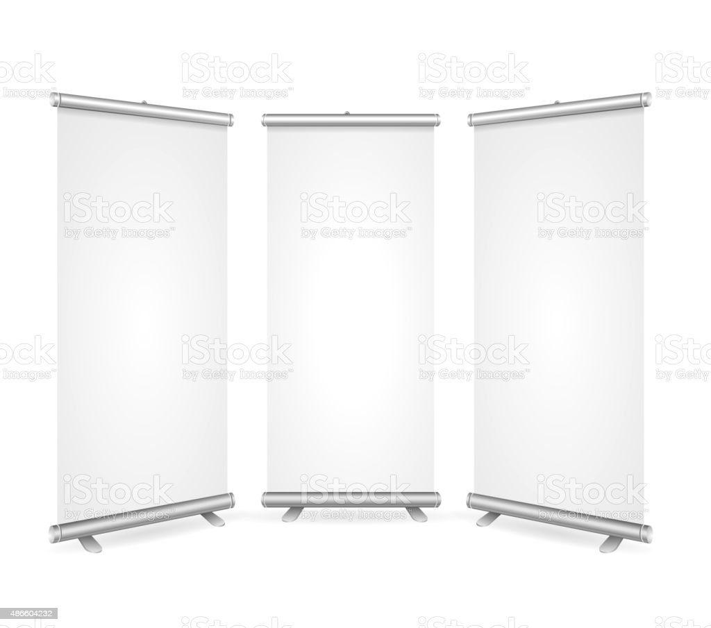 Blank Roll Up Banner 3 Display View Template. Vector vector art illustration