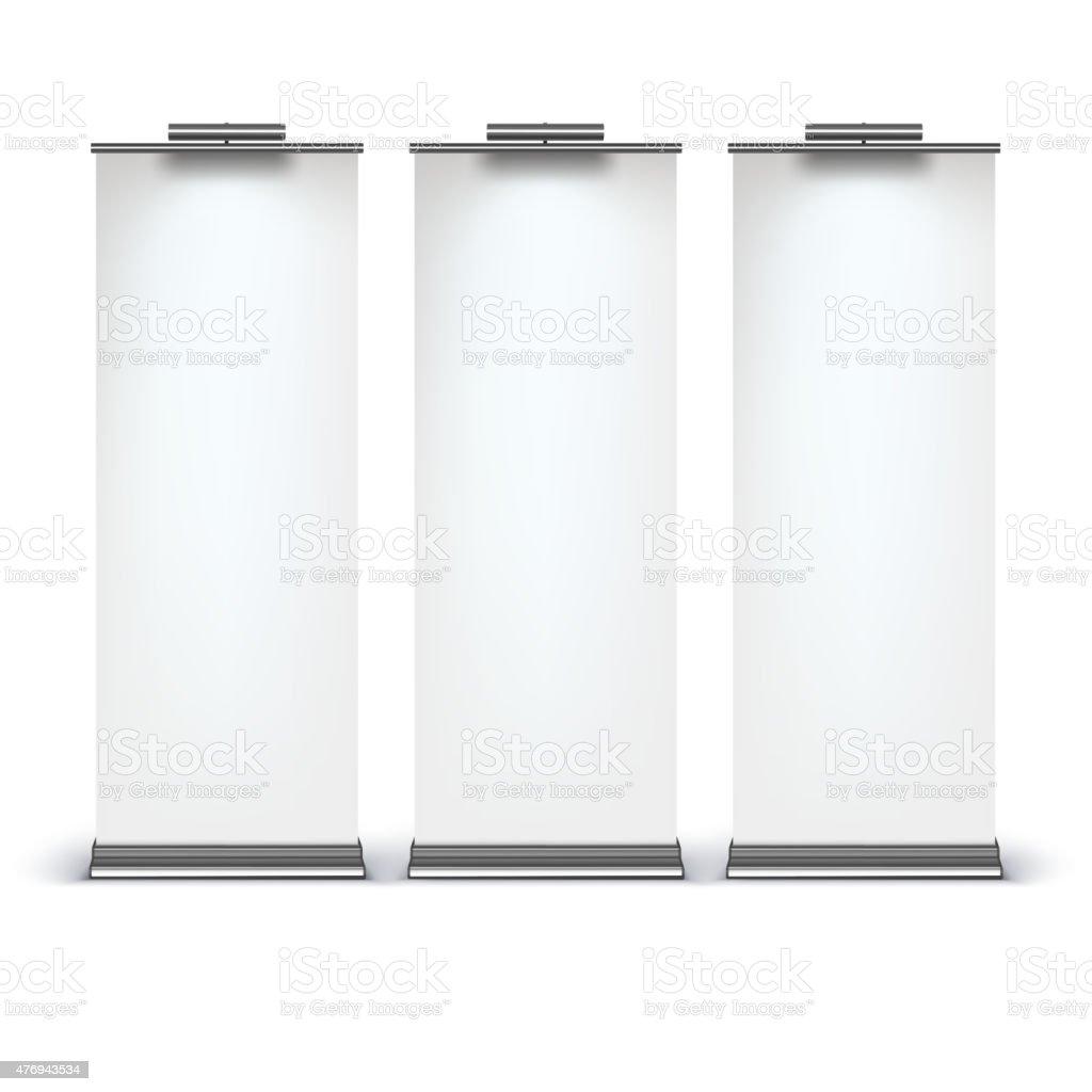 Blank roll up banner display vector art illustration