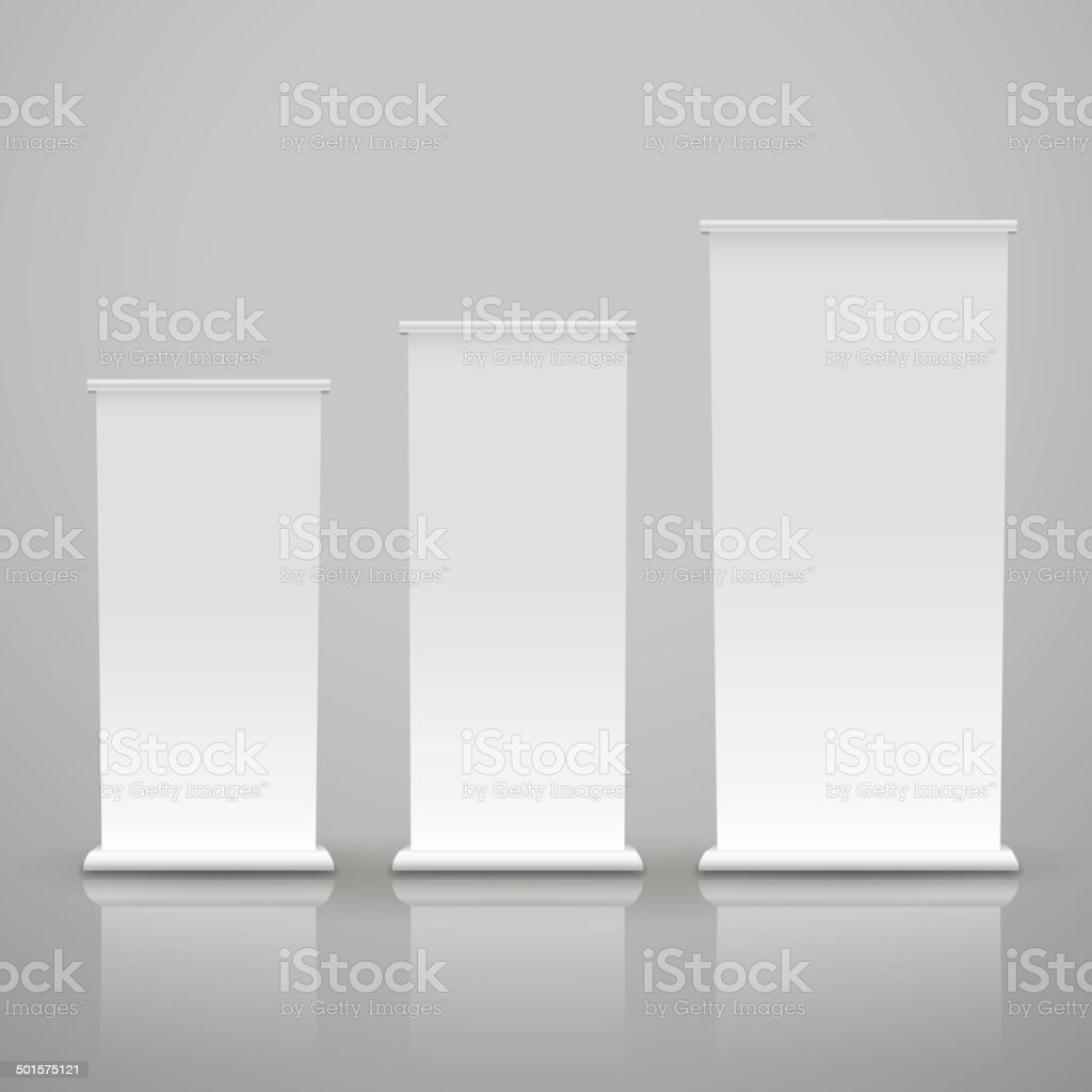 blank roll up banner on a gray background vector art illustration