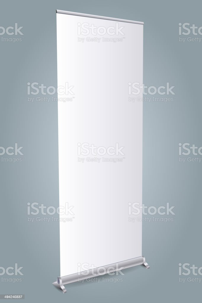 Blank roll up stand on gray background. vector art illustration