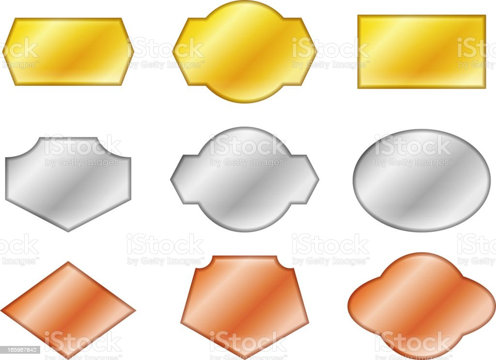 Blank royalty free vector shapes in gold, silver, and bronze royalty-free stock vector art
