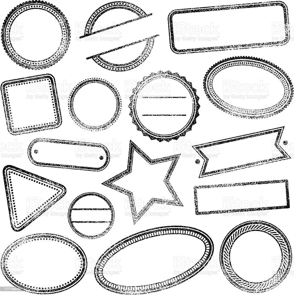 Blank rubber stamps vector art illustration