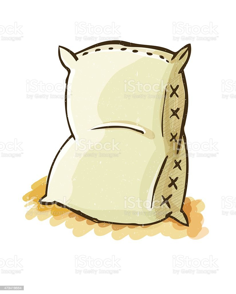 Blank Sack In Water Color Style vector art illustration