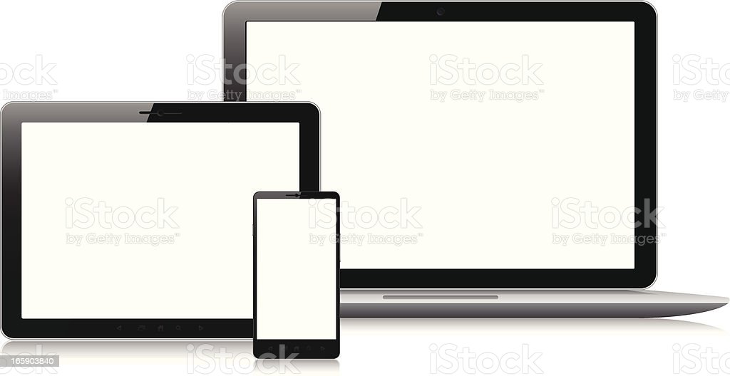 Blank screens on various electronic devices royalty-free stock vector art