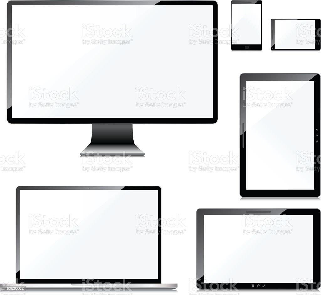 Blank screens set, isolated on white background vector art illustration