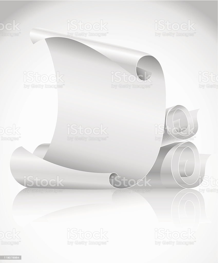 blank scrolls of white paper royalty-free stock vector art
