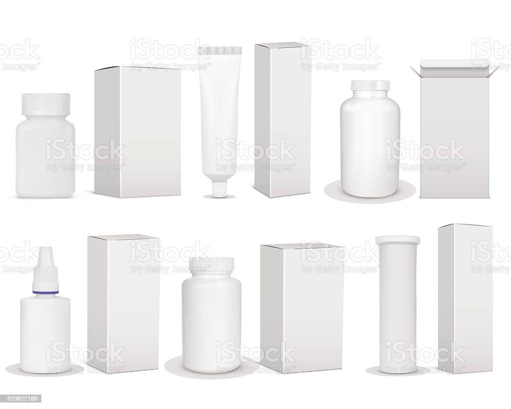 Blank set of plastic packaging bottles vector art illustration