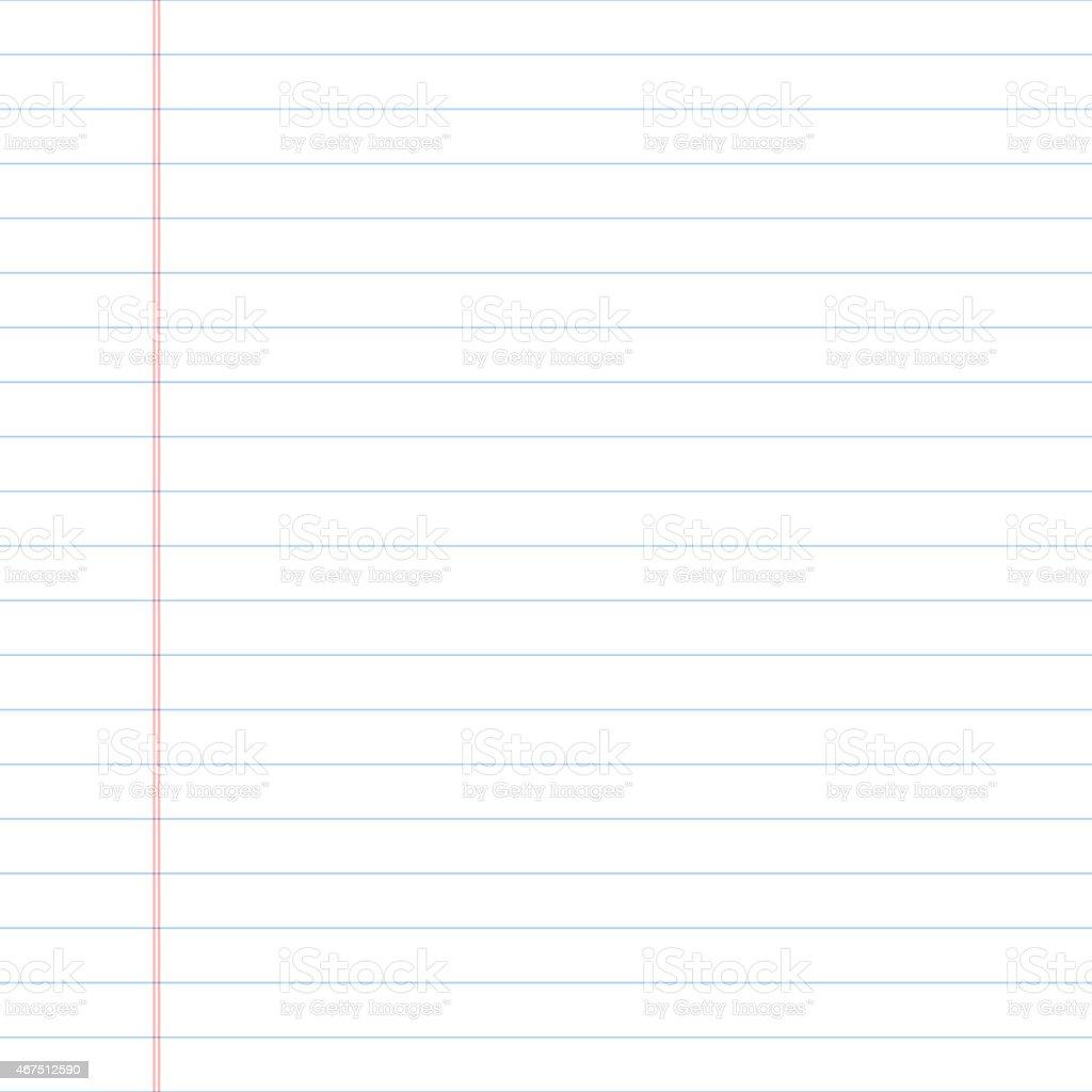 Blank sheet of college ruled paper vector art illustration