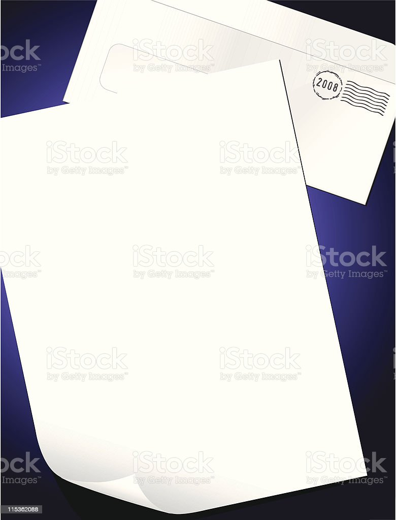 Blank sheet of paper and postmarked envelope royalty-free stock vector art
