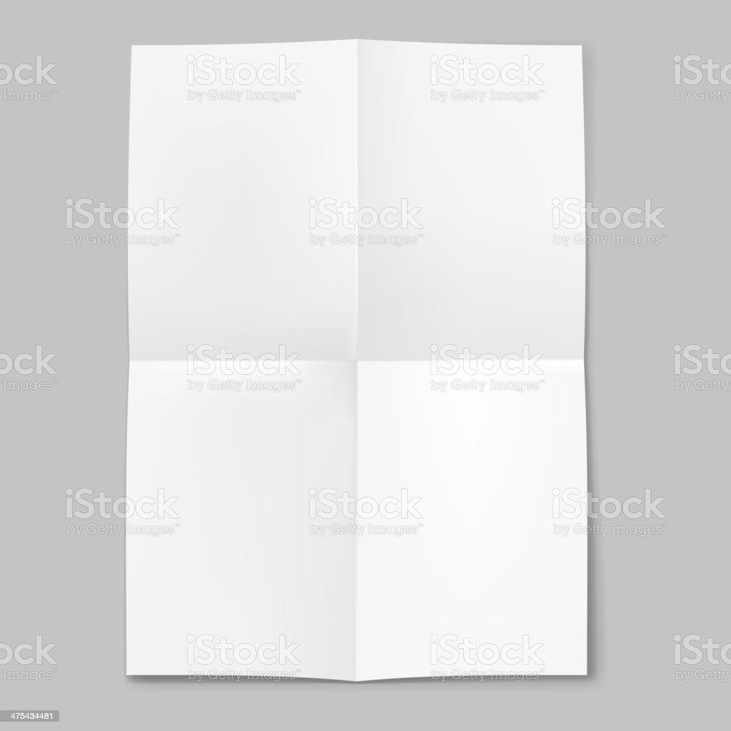 Blank sheet of paper folded in four vector art illustration
